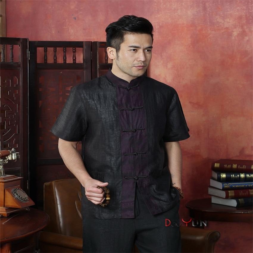 Wholesale Retail Black Chinese Traditional Men's Kung Fu Tops Shirt Embroidery Totem Shirt With Pocket Size M L XL XXL XXXL 4XL женское платье wm 2015 m l xl xxl xxxl 4xl 5xl 6xl r wyd005
