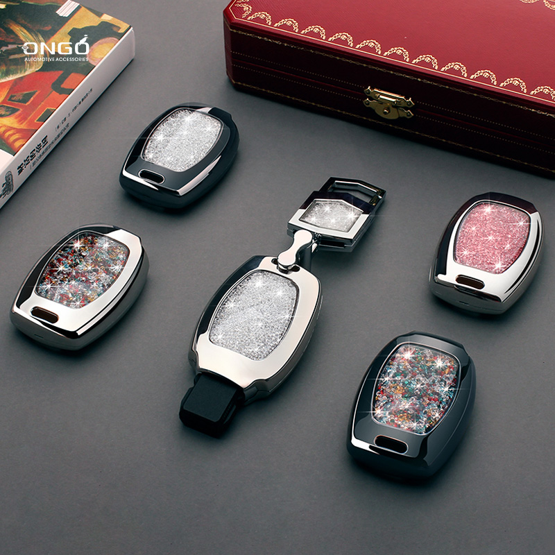 For Benz Alloy Diamond 2&3 Button Smart Car Key Case Cover For Mercedes Benz Accessories W203 W210 W211 W124 Keyrings Keychain car keychain key ring pendant metal alloy logo car emblem keyrings for vw audi toyota universal benz bmw car styling accessories