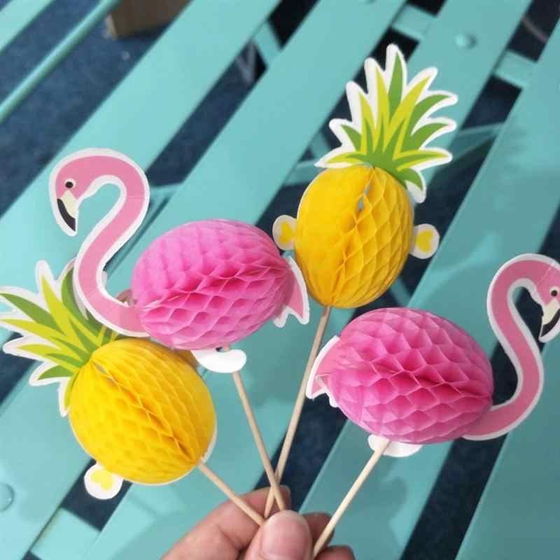 10 Pcs Bolo Toppers 3D Flamingo e Abacaxi Decorativo Do Bolo Do Partido Decoração Do Bolo Picaretas para Dinner Party