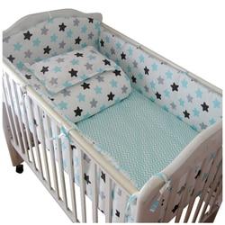 Juego de cama de algodón para bebé de dibujos animados suave juego de ropa de cama para cuna de bebé incluyen almohada parachoques de los niños Juego de ropa de cama para cuna de bebé s para bebés