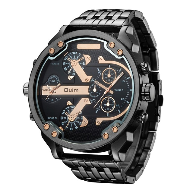 Reloj de gran tamaño de Oulm de marca superior reloj de hombre de acero  inoxidable negro 9e022b441285