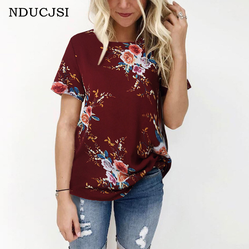 NDUCJSI Floral Print   Blouse   Summer Women Casual   Shirts   Short Sleeve   Blouses     Shirts   Loose Beach   Shirt   Blusas XXXL Plus Size Tops