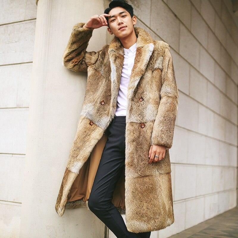 897f9a39a Véritable manteau de fourrure hommes hiver en cuir véritable naturel ...