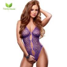 Hot Fishnet Bodysuits Sexy Underwear Women Ropa Interior Mujer Halterneck Erotica Tights Hollow Purple Black Romantic Lingerie