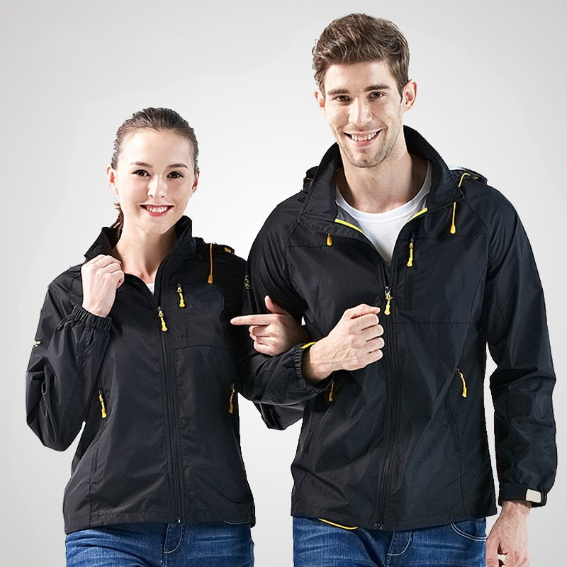 где купить Outdoor single-layer jacket spring and autumn waterproof breathable men's mountain clothes women thin models hooded coat по лучшей цене