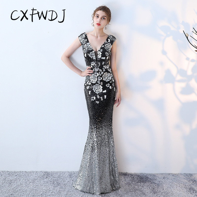 Temperament Women Evening wear Dress Sexy Backless Deep V neck Sequin Slim fit Long Section Ladies Dinner Party Reception Dress