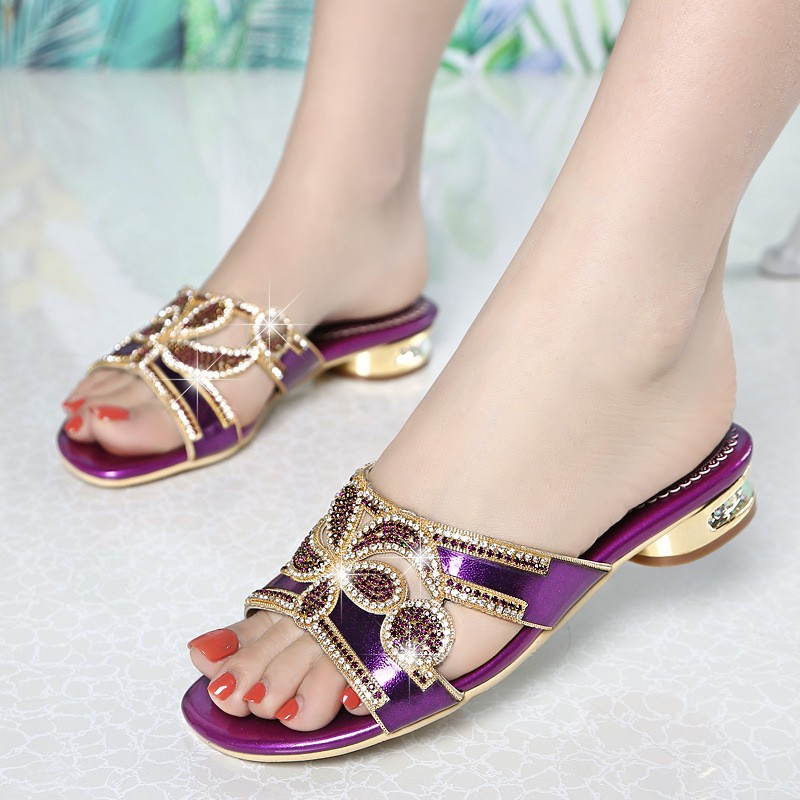 Summer Shoes Crystal Slides Shoes Women Flip Flops Flat With Casual Shoes Transparent Diamond Rhinestone Slippers XMX-A0002