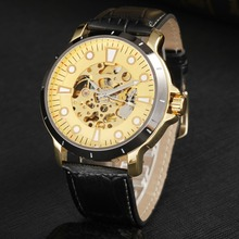 GOER brand Men s Skeleton wrist watch Luminous waterproof Machinery fully automatic Leather male sports Watch