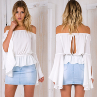 Collar Shirt Sleeve Solid Hollow Halter Horn Open Shirt