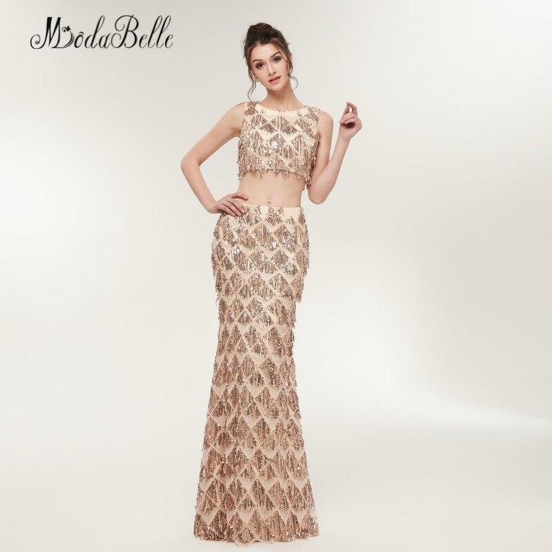 Modabelle sirène deux pièces Sequin robes de bal Champagne or Vestido Festa Longo longueur de plancher femmes robe de soirée brillant