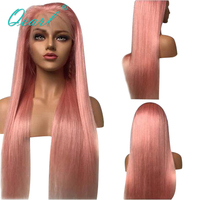 Qearl Pink Color Lace Front Wig Brazilian virgin Human Hair Wigs With Baby Hairs Straight Lace Wig Freestyle for Women