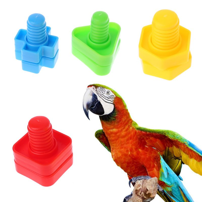 4 Pc Papegaai Speelgoed Chew Beten Swing Kooi Noten Bouten Schroef Speelgoed Voor Parkiet Valkparkiet Kaketoe Training Speelgoed