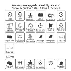 Image 3 - P15 HD TFT OBD Digitale Geschwindigkeit Hud Display Auto Tacho OBD2 Turbo Boost Druck Meter Alarm Öl Wasser Temp Gauge code Reader