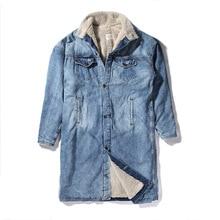 2016FW winter fear of god FOG women men long style denim jacket coat hiphop clothing sup warm jackets coats fleece 1:1 quality