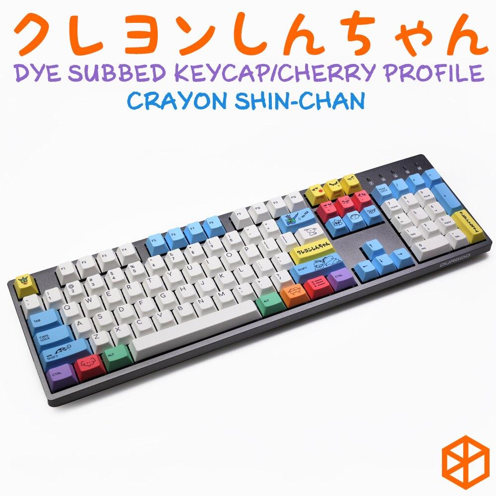 cherry profile Dye Sub Keycap Set PBT plastic Crayon Shin chan for mechanical keyboard white blue