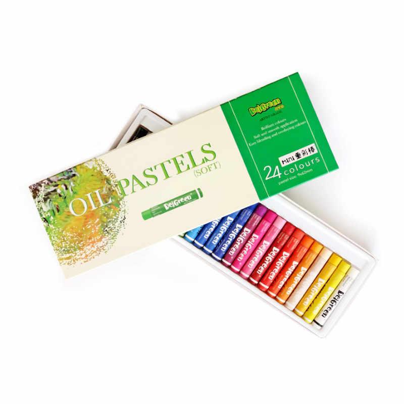 DelGreen 24 couleurs Pastels à l'huile de couleur lourde MINI Set enfants peinture à l'huile bâton coloré lumineux doux Crayon fournitures d'art scolaire