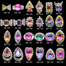 100pcs/pack NEW Holographic Nail Crystal High Quality AB Rhinestone Alloy Nail Art Decorations Glitter Charm 3D Nail Jewelry(China)