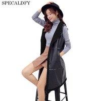 2018 New Fashion Black Faux Leather Vest Women Fleece Vest Coat Long Autumn Cardigan Outerwear Winter Jacket Vests Top Female