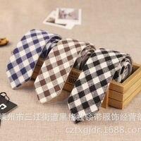 Grid Tie 2015 New Slim Skinny Narrow Cotton Men Tie Suit Wedding Plaid Cravat Double Faced