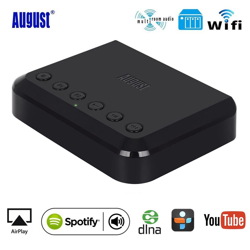 De agosto de WR320 WIFI inalámbrico receptor de Audio sonido corriente adaptador Airplay Spotify DLNA Bluetooth música Adaptador de Audio Multiroom