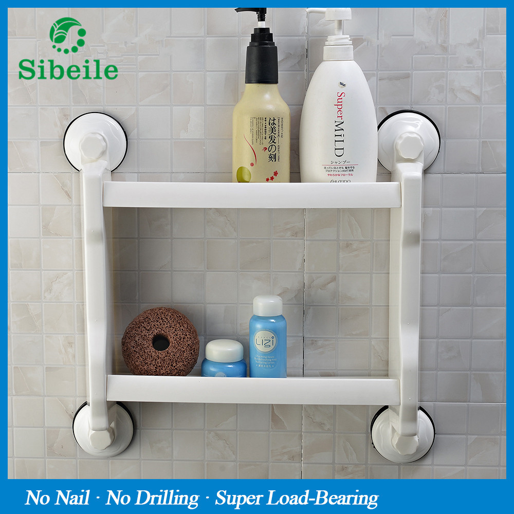 SBLE Wall mounted powerful suction kitchen bathroom shelf double ...