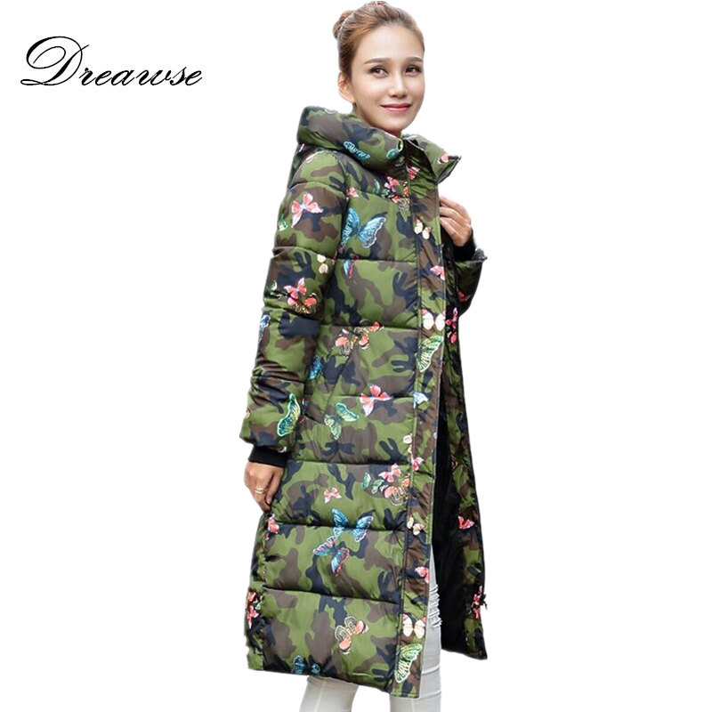 Dreawse Fashion Winter Plus Size Jacket Women Print Thick Warm Female Jacket Cotton Coat   Parkas   Jaqueta Feminina Inverno MZ1998g