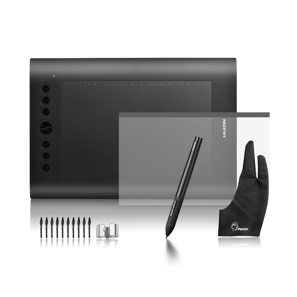 Huion H610 Pro 10x 6.25 Art Graphics Drawing Tablet 5080 LPI Kit + Protective Film + Parblo Two-Finger Glove + 10 Extra Nibs huion h610 pro art graphics drawing digital tablet kit protective film 15 inch wool liner bag parblo glove 10 extra nibs