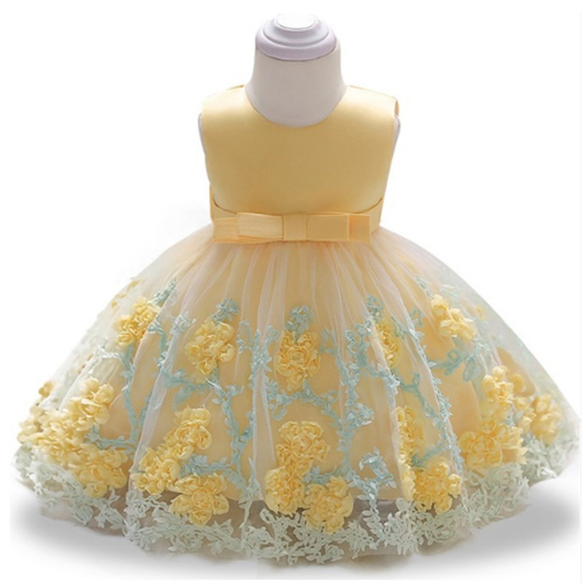 Brand Bowknot Newborn Baby Girls Flower Lace Baptism Dresses for 12 Month 1 Year First Birthday Princess Christening Gown Outfit