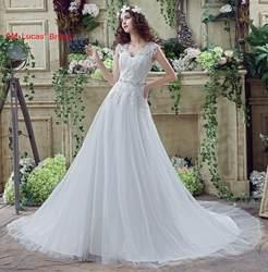 Простой свадебное платье 2018 платья невесты плюс Размеры Пляж Тюль Кружева в наличии Принцесса Атласное Платье Элегантный с плеча