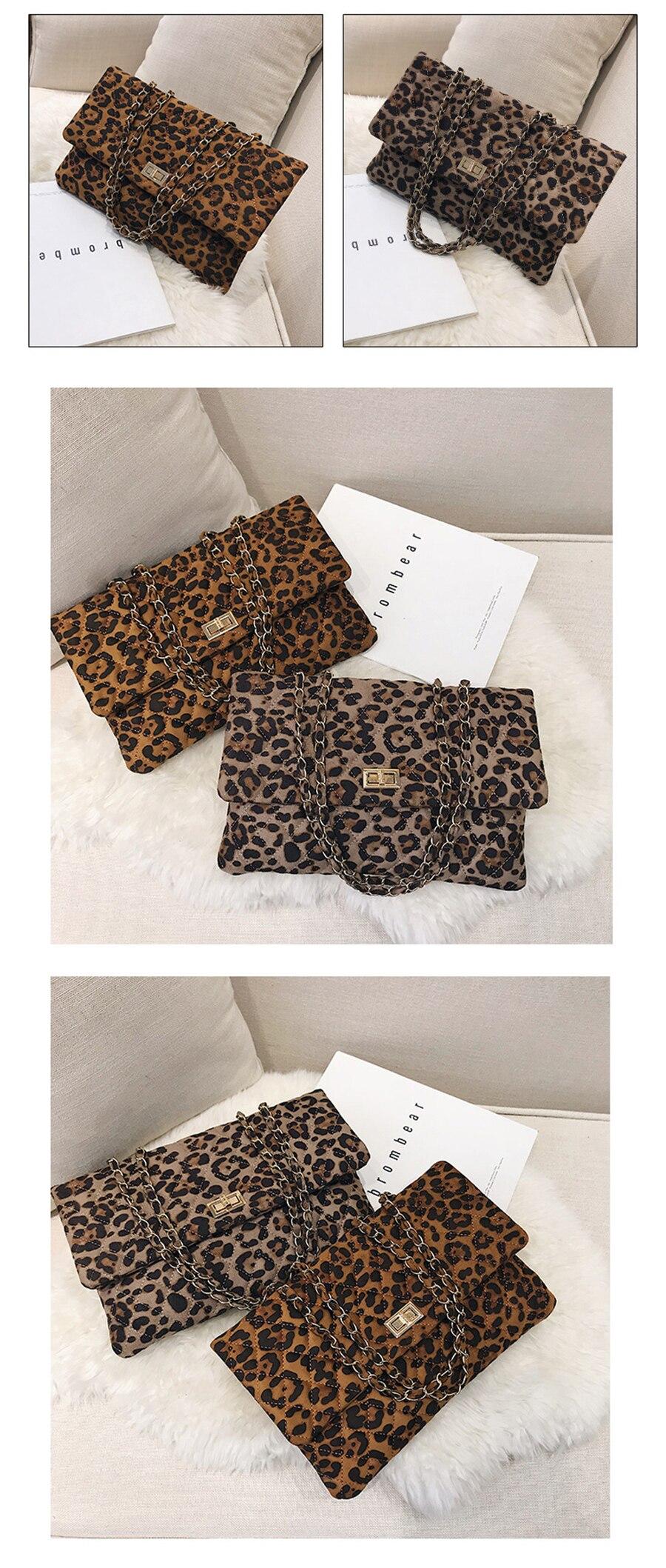 shop cheap Leopard Print Handbag Envelope Winter Plush Shoulder Bag on sale