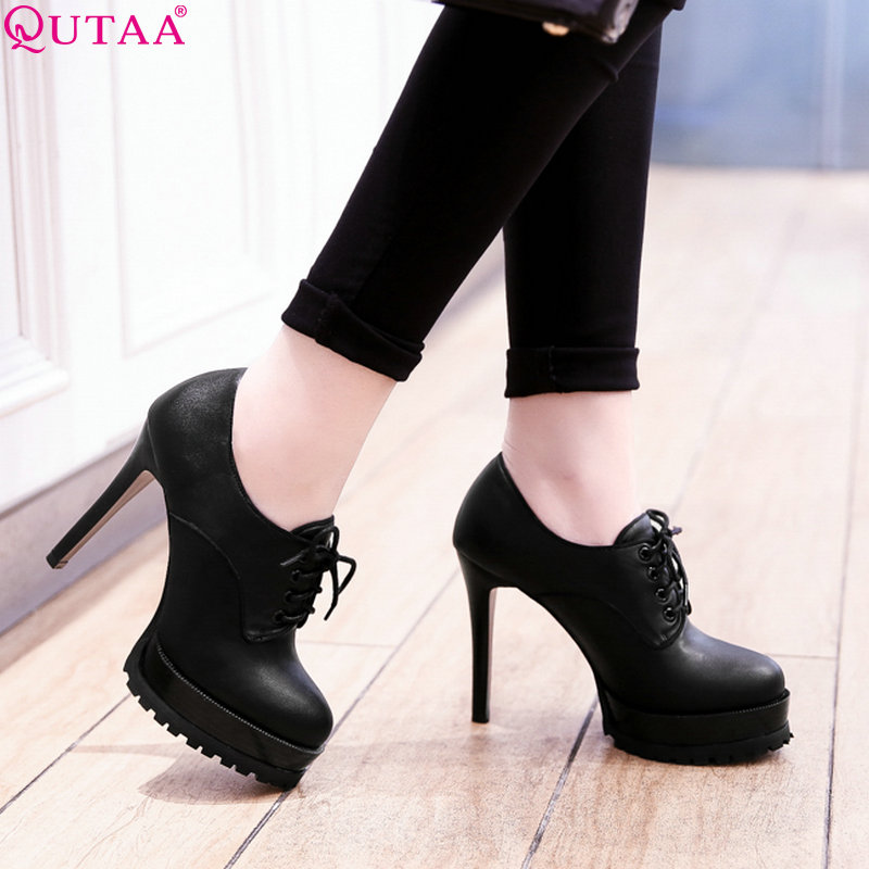 QUTAA 2019 Women Pump Women Shoes Platform Lace Up Thin High Heel S PU Leather/Scrub Wedding Shoes Ladies Pumps Szie 34 43