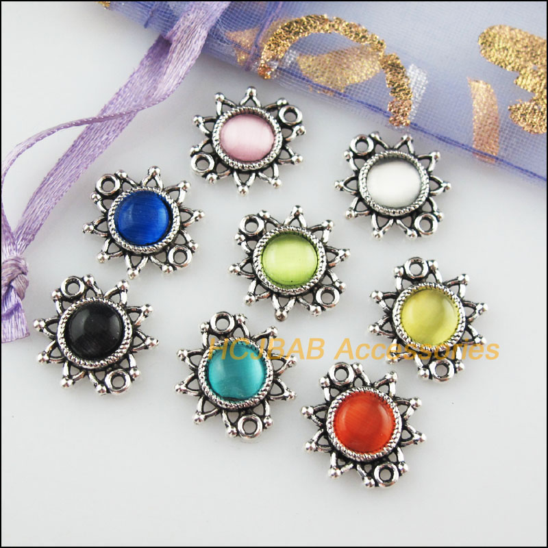 12Pcs Tibetan Silver Tone Round Blue Eye Resin Charms Connectors 14x20mm
