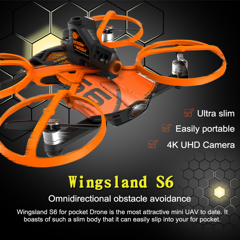 New Arrival Wingsland S6 RC Drone Pocket Selfie Drone WiFi FPV With 4K UHD Camera FPV Quadcopter Free Shipping jjrc h37 elfie rc quadcopter foldable pocket selfie drone with camera