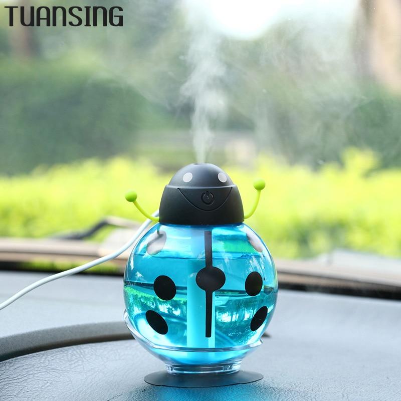 2016 New Mini USB Portable Ultrasonic Beetles Humidifier Air Diffuser Mist Maker DC 5V ABS Bottle Led Light For Home Office Car