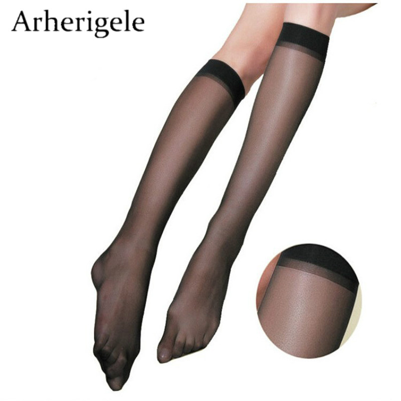 Arherigele 10pcs 5pair Fashion Women's Nylon Socks Ultrathin Sexy Stockings Solid Transparent Over Knee Socks Crystal Silk Sock