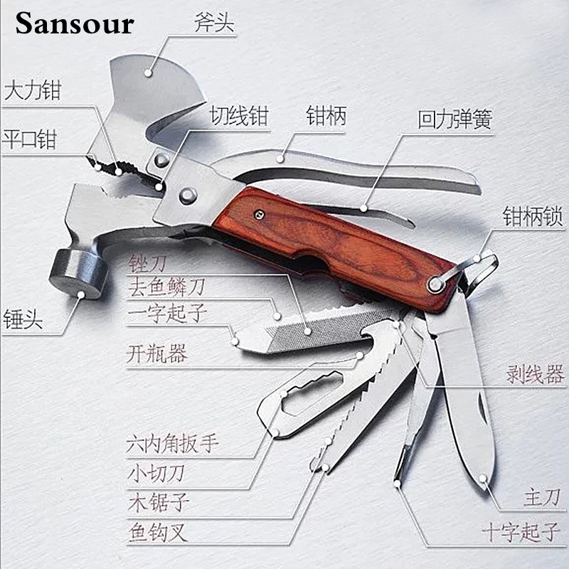Camping Survival Multi-tool Knife Gear Tools Set Adjustable Wrench Jaw Screwdriver Pliers Tools Hunting 19 in 1 Accessories