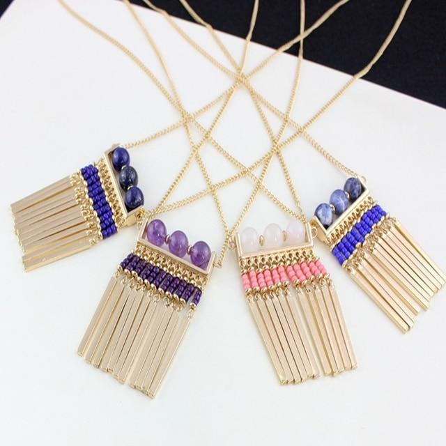 Chicvie богемные ожерелья с камнями цвет золото женская свадебная