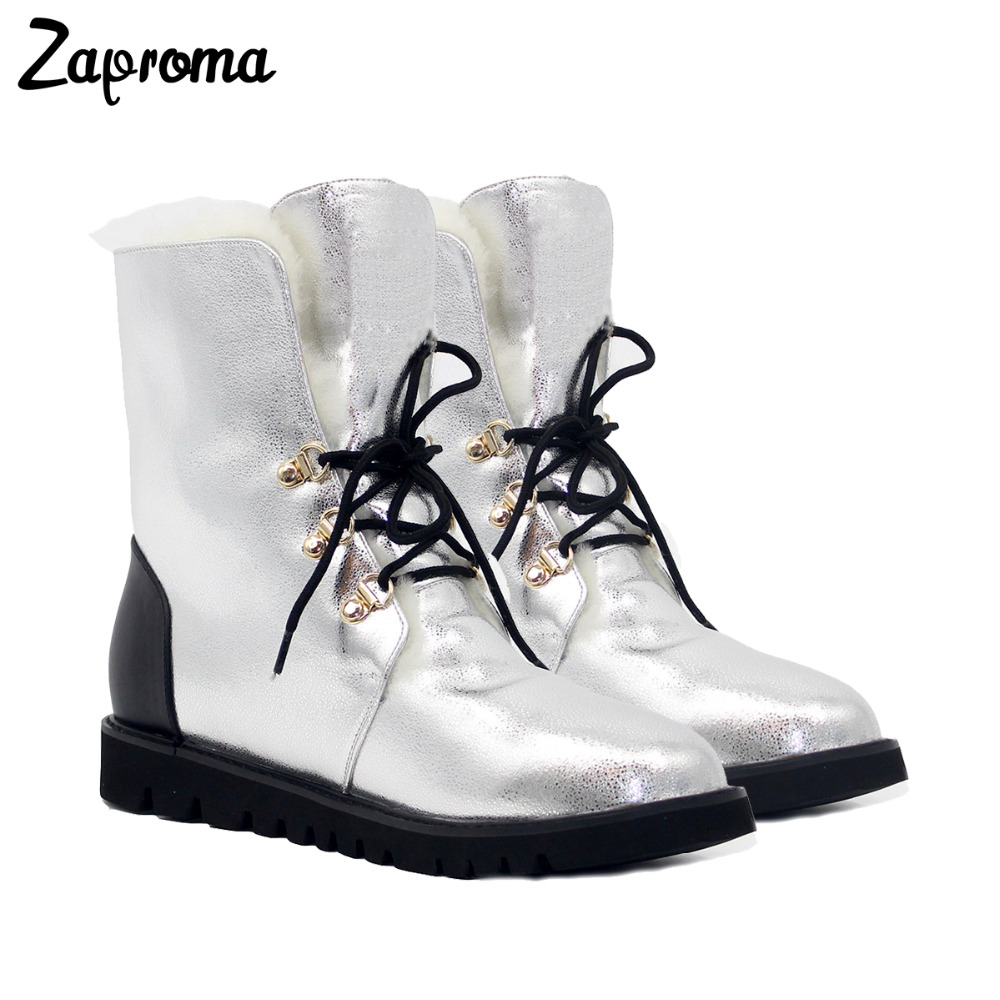 Women Winter Boots Cow Leather Med Heel Platform Ankle Snow Boots Female Warm Wool Insole High Quality Botas Mujer Lace Up
