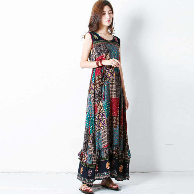 Surdimensionné ZANZEA femmes sans manches imprimé Floral O cou lâche été fête Maxi longue robe décontracté plage volants robe d'été
