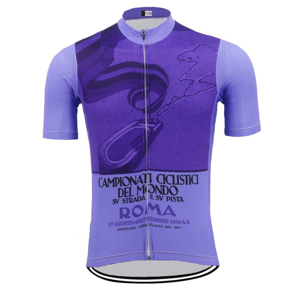 Baru Klasik Ungu Bersepeda Jersey Musim Panas Peta Sepeda Pakaian Pro Bersepeda Atasan Bernapas MTB Triathlon Jersey Ciclismo Hombre
