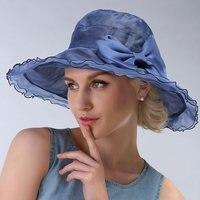 SHOUHOU 2019 new summer women hat beach hat elegant lady's silk anti uv hat girls party show bowknot solid sunhat free shipping