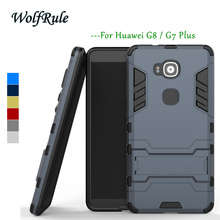 WolfRule Anti-knock Case Huawei G8 Cover Soft Rubber + Hybrid Plastic Case For Huawei G8 Case G7 Plus Holder Stand Phone Bags <