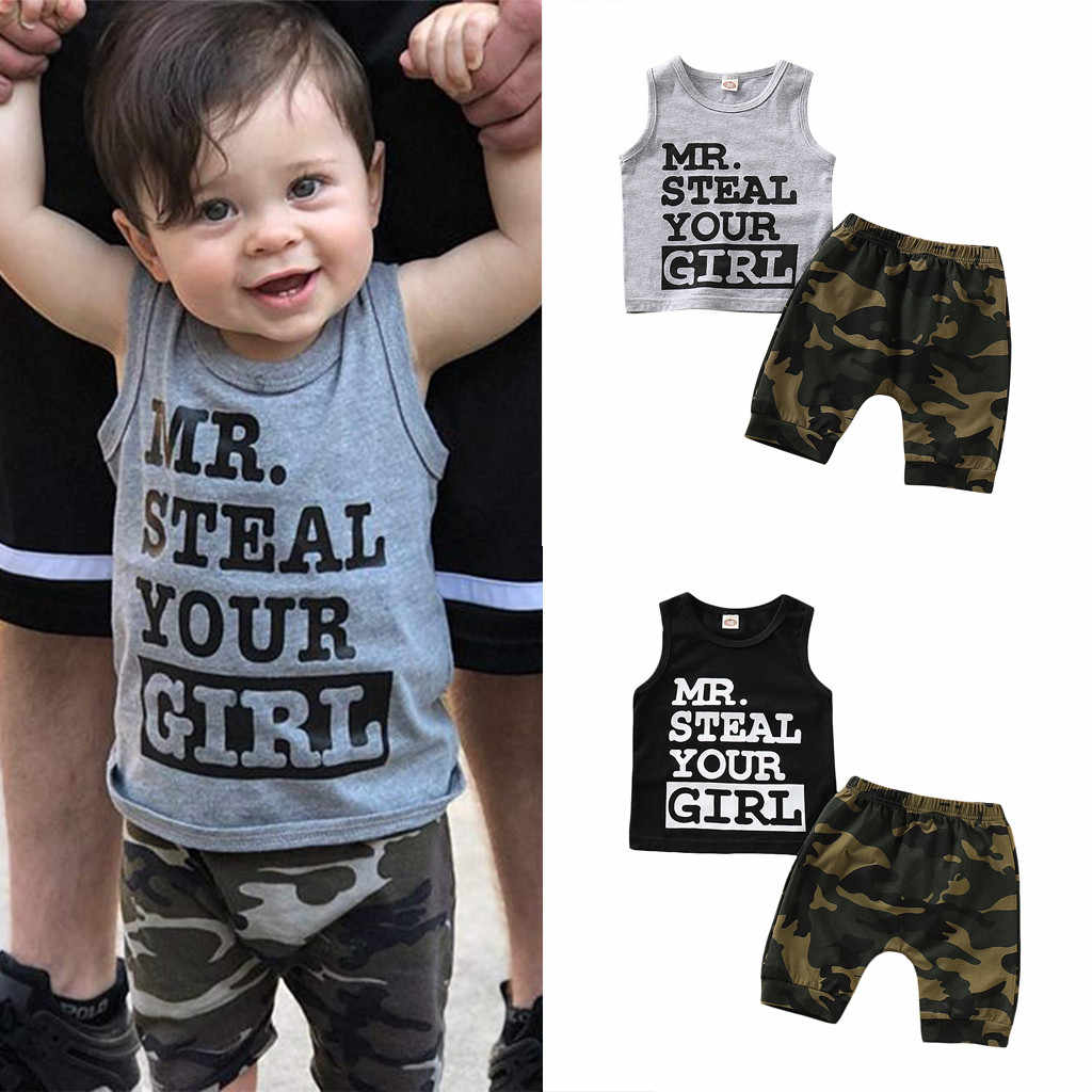 Boys Clothing Sets Kid Clothes Vetement Enfant Toddler Baby Boy Clothes Vest T shirt Tops+Camouflage Shorts Pants Outfits Set