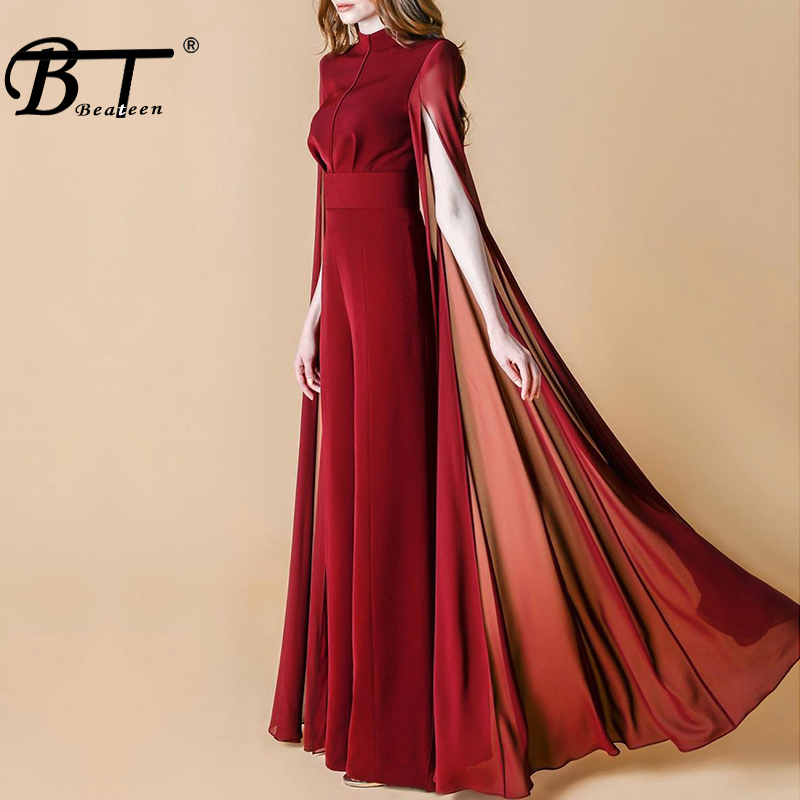 Beateen Women Black Wine-red O-Neck Cape Sleeve   Jumpsuit   Elegant Luxury Celebrity Party Club 2018 New With Belt