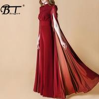 Beateen Women Black Wine red O Neck Cape Sleeve Jumpsuit Elegant Luxury Celebrity Party Club 2018 New With Belt