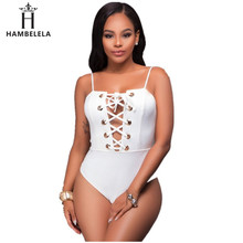 b1f82a923d8 HAMBELELA 3 Color Sexy Lace Up Bodysuit Solid Strap Bathing Suit Rompers  Womens Jumpsuit Hollow Out