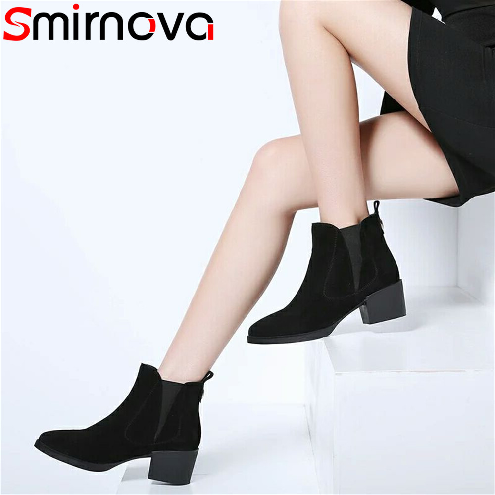 Smirnova black fashion autumn winter shoes woman square heel pointed toe women boots classic suede leather ankle boots 2018 new стоимость