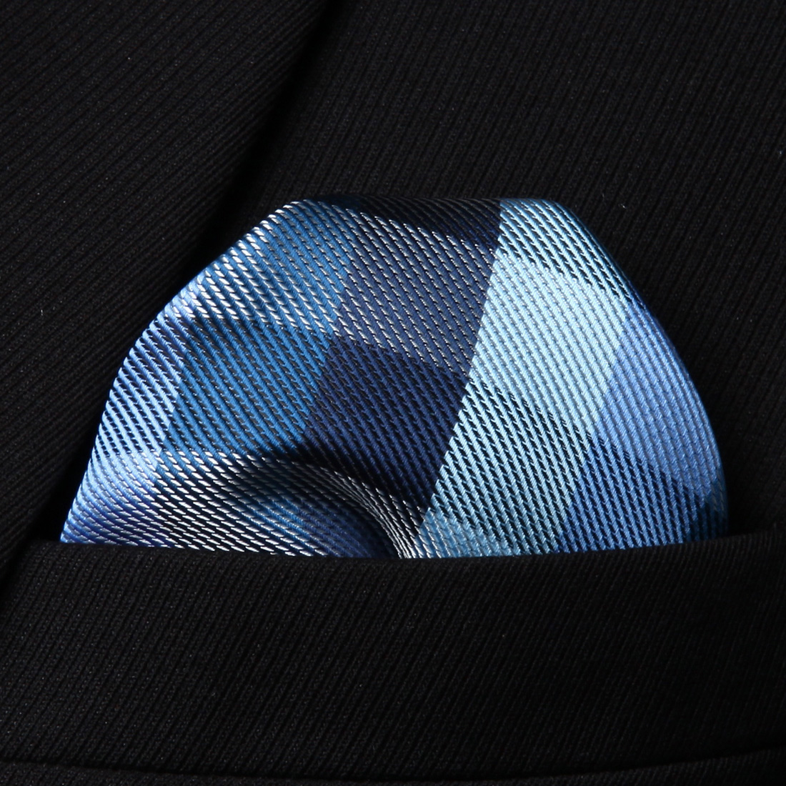 HC804V Blue White Check Men 100% Silk Party Handkerchief Pocket Square Hanky