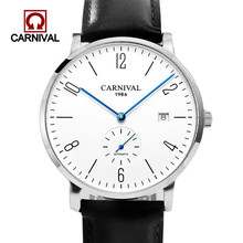 Carnival Automatic Mechanical Watch Men Luxury Brand Full Steel Business Sports Men Watches Leather Fashion Casual Date Clock ailang brand men s business deluxe yingang mechanical 5 point small seconds date light men s fashion casual watch