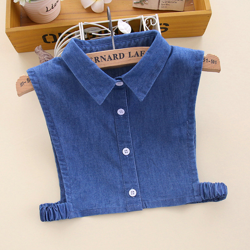 Children Girl Cute Plaid Denim Cotton Fake Collar Shirt Peter Pan Detachable False Collars Student Kids Choker Lapel Blouse Tops